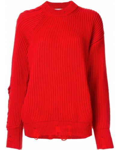 Вязаный джемпер большой красный Nina Ricci