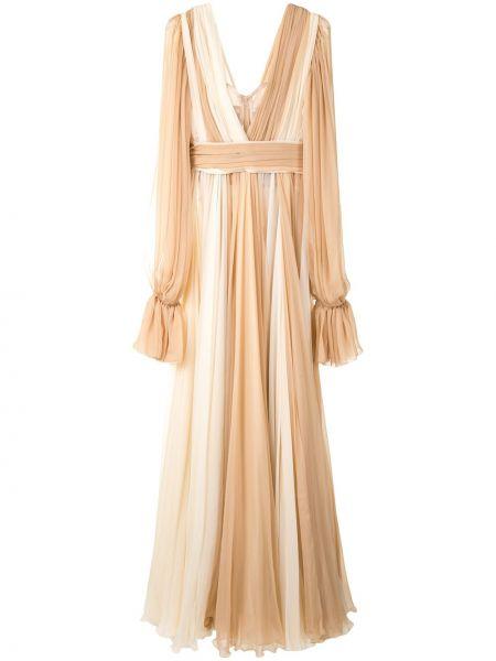 Шелковое расклешенное платье с V-образным вырезом со вставками Dolce & Gabbana