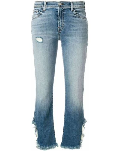 Укороченные джинсы с бахромой синие J Brand