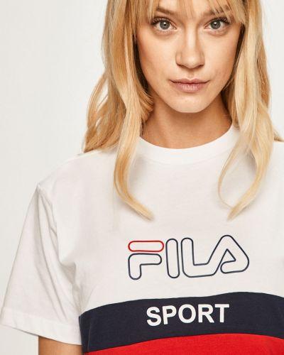 Футболка белая с декольте Fila