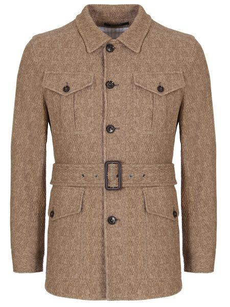 Бежевая куртка на пуговицах с карманами с воротником Montecore