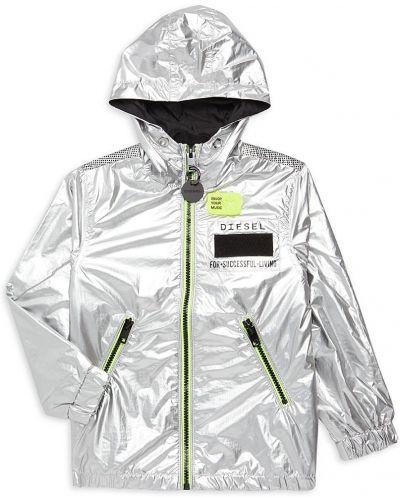 Серебряная длинная куртка для беременных с капюшоном Diesel
