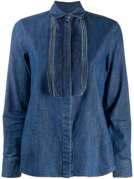 Классическая синяя джинсовая рубашка с воротником с длинными рукавами Barba