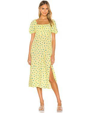 Платье миди шелковое со складками Faithfull The Brand