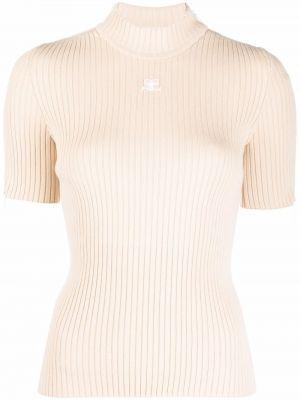 Beżowa koszulka z wiskozy Courreges