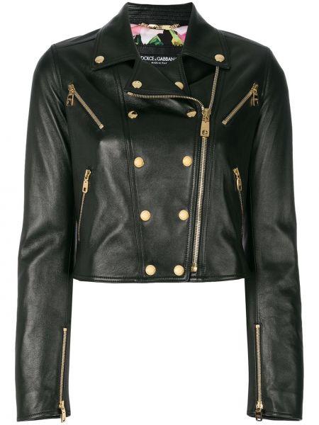 Кожаная куртка черная байкерская Dolce & Gabbana