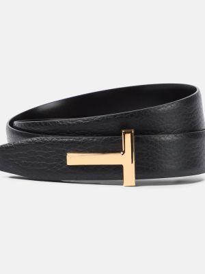 Черный кожаный ремень с поясом Tom Ford
