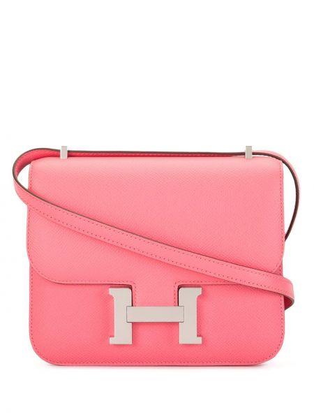 Кожаная сумка через плечо розовый Hermès