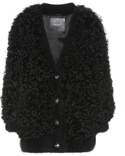 Плюшевая куртка - черная Miu Miu