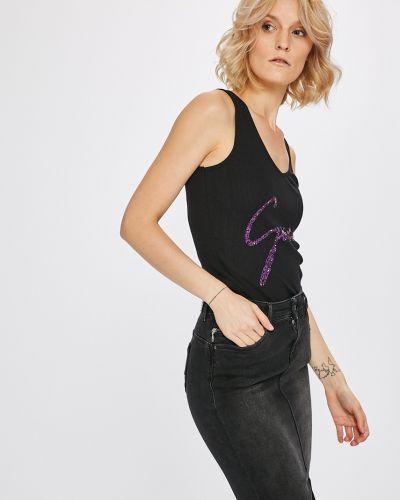 Черный топ с V-образным вырезом Guess Jeans