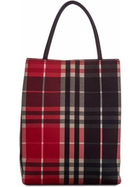Красная парусиновая сумка шоппер с подкладкой Burberry Pre-owned