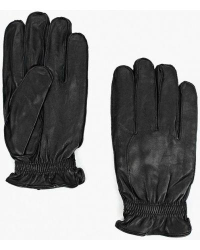 Черные кожаные перчатки Mango Man
