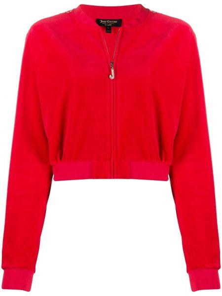 С рукавами красный свитер с капюшоном с манжетами Juicy Couture