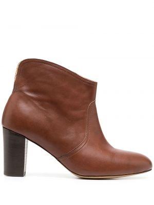 Кожаные коричневые ботильоны на каблуке без застежки Tila March