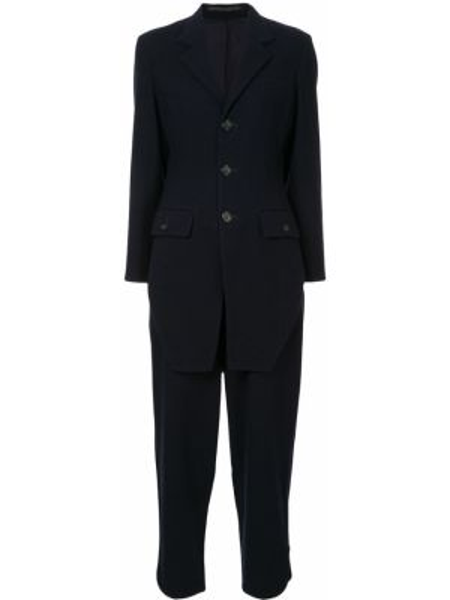 Синий классический костюм свободного кроя на пуговицах Yohji Yamamoto Pre-owned