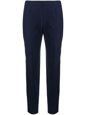 Хлопковые синие укороченные брюки со складками Piazza Sempione
