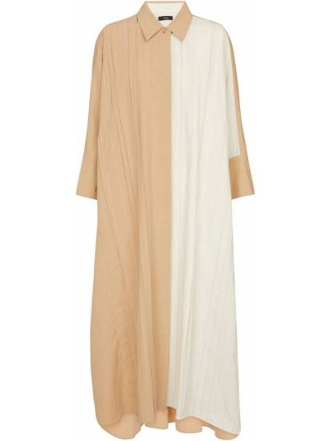 Льняное повседневное бежевое платье-рубашка Joseph