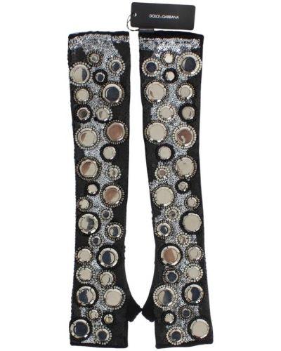 Z kaszmiru czarne rękawiczki bez palców z cekinami Dolce And Gabbana