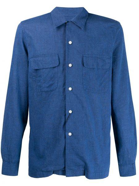 Koszula z długim rękawem prosto z łatami Dell'oglio