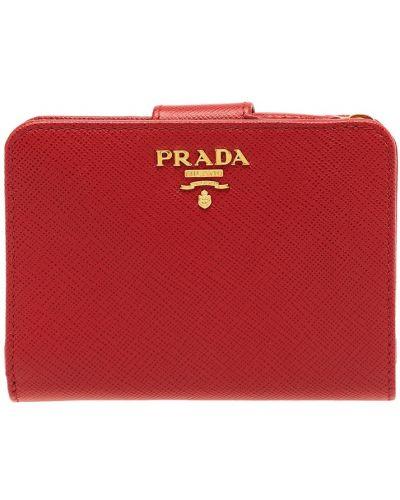 Красный кожаный кошелек для монет на молнии Prada