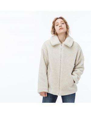 Акриловая бежевая куртка на молнии с карманами Lacoste