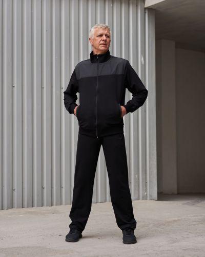 Прямой черный трикотажный спортивный костюм Rozetka