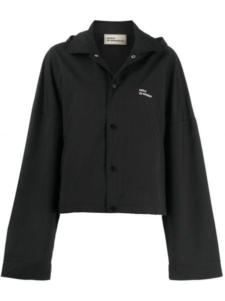 Водонепроницаемая прямая черная куртка с капюшоном на кнопках Drôle De Monsieur