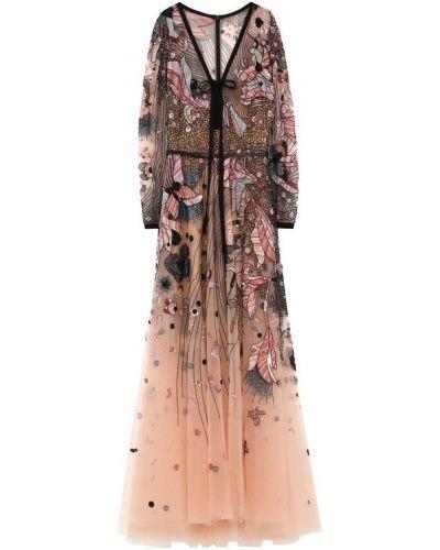 Платье макси с декольте с бисером Elie Saab
