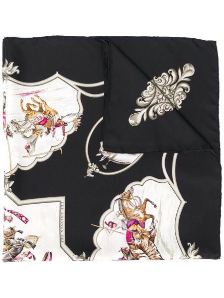 Шелковый черный платок Hermès Pre-owned