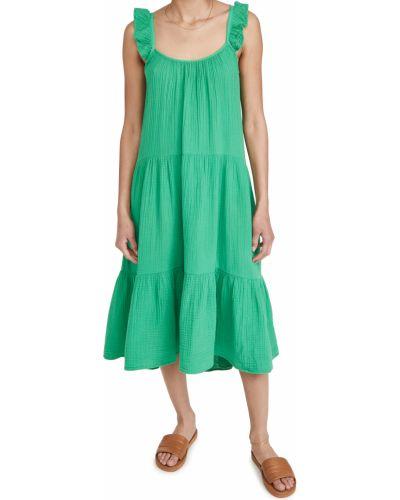 Хлопковое зеленое платье стрейч Xírena