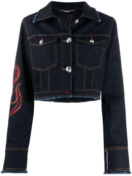 Классическая синяя джинсовая куртка с воротником на пуговицах Philipp Plein