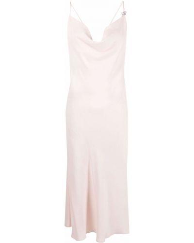 Розовое платье миди с открытой спиной без рукавов Blumarine