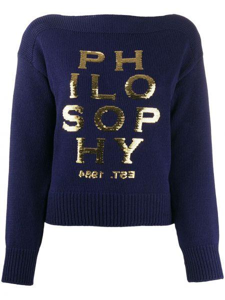 Синий длинный свитер с пайетками в рубчик Philosophy Di Lorenzo Serafini