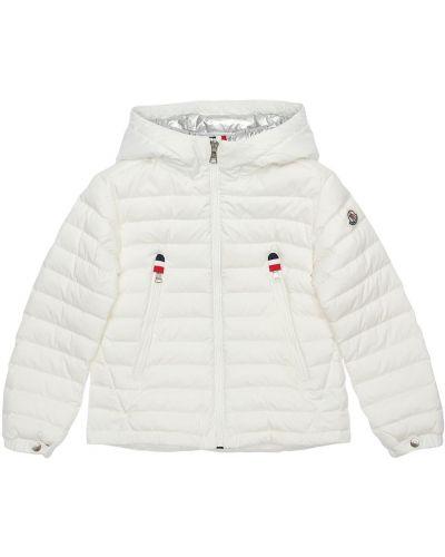 Biały z rękawami kurtka z kapturem z łatami Moncler