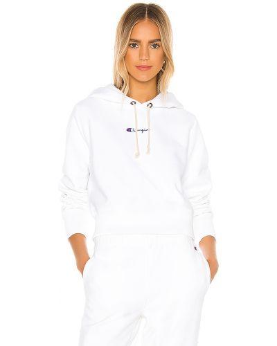 Biały bawełna bluza z kapturem z haftem Champion