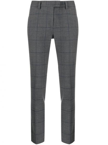 Шерстяные серые брюки с поясом Incotex