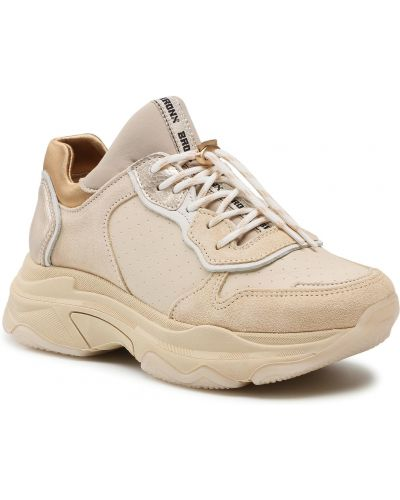 Buty sportowe skorzane - beżowe Bronx
