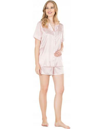 Satyna biały piżama z rękawami szorty Victoria's Secret