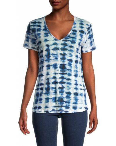 Льняная синяя футболка с V-образным вырезом Majestic