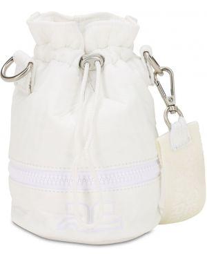 Biała torebka mini z nylonu z haftem Courreges