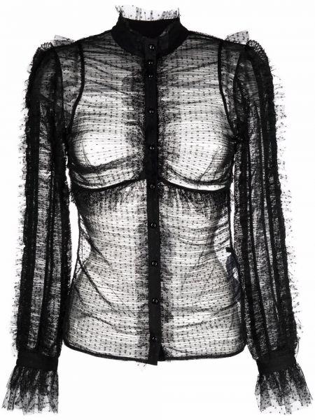 Bluzka w grochy - czarna Elisabetta Franchi