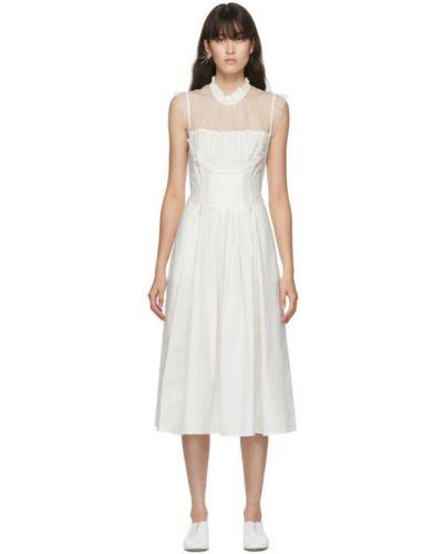 Белое шелковое платье с воротником без рукавов Renli Su
