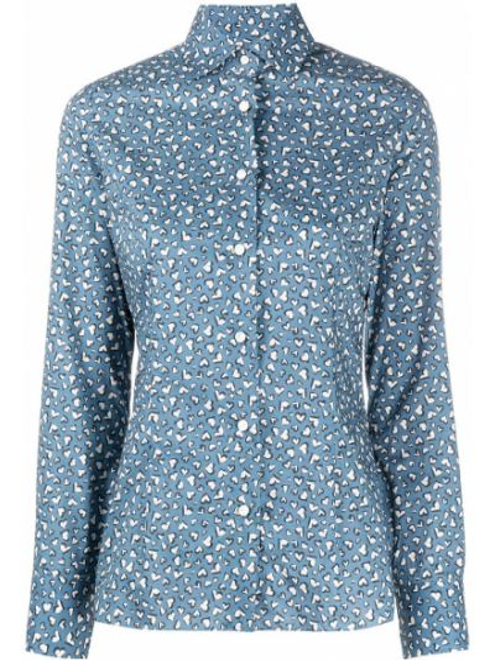 Синяя классическая рубашка с воротником с манжетами на пуговицах Barba