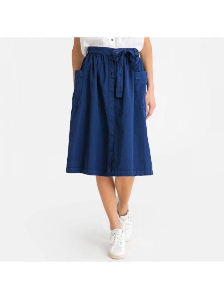 Расклешенная синяя юбка миди в рубчик с поясом Harris Wilson