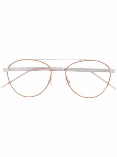 Beżowe okulary srebrne Boss Hugo Boss