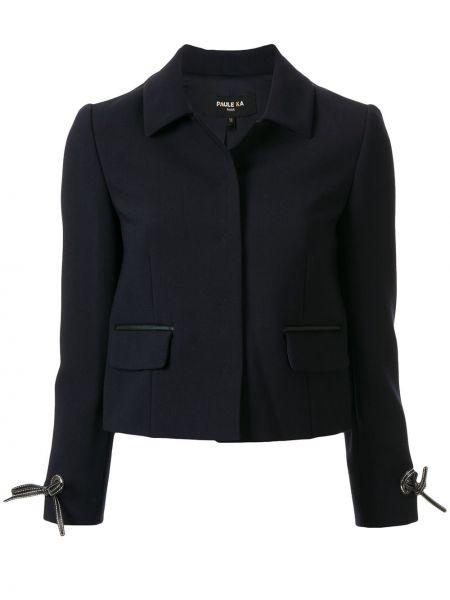 Синий кожаный пиджак с карманами Paule Ka