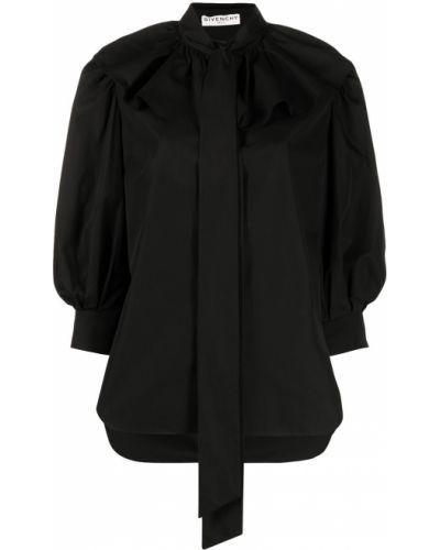 Черная блузка с воротником с бантом Givenchy