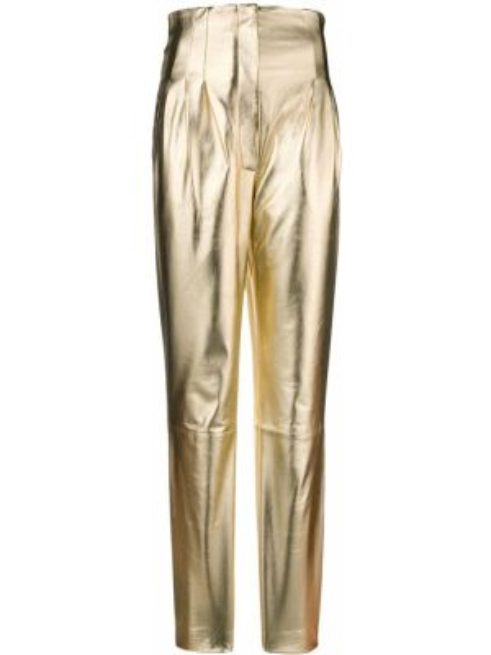 Желтые кожаные брюки на молнии Alberta Ferretti