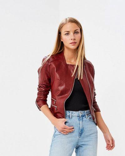 Кожаная куртка весенняя бордовый Fascinate