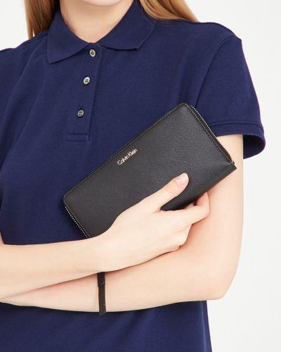 Кожаный кошелек черный золотой Calvin Klein